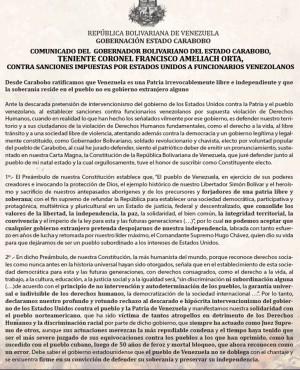 Comunicado Francisco Ameliach
